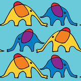 Elefantes de passeio dos desenhos animados ilustração do vetor