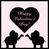 Elefantes de un par y un corazón con las tarjetas del día de San Valentín felices D del texto Foto de archivo