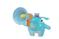 Elefantes de uns desenhos animados e megafone, ilustração 3D Imagem de Stock Royalty Free