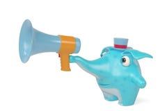 Elefantes de uns desenhos animados e megafone, ilustração 3D Fotografia de Stock Royalty Free