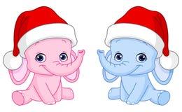 Elefantes del bebé de la Navidad Fotografía de archivo libre de regalías