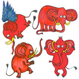 Elefantes del rojo de la historieta Fotos de archivo