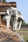 Elefantes del templo antiguo de Tailandia fotografía de archivo