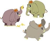 Elefantes divertidos de la historieta Fotografía de archivo