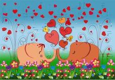 elefantes do amor Fotografia de Stock