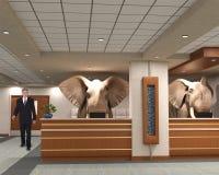 Elefantes do escritório para negócios, vendas, mercado Fotos de Stock Royalty Free