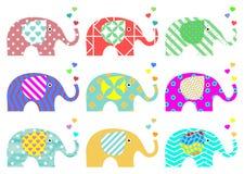Elefantes do vintage Teste padrão retro Texturas e formas geométricas Png disponível ilustração royalty free