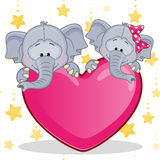 Elefantes dos amantes Fotos de Stock Royalty Free