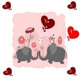Elefantes dos amantes com corações Imagem de Stock