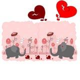 Elefantes dos amantes com corações Fotografia de Stock