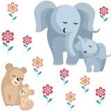 Elefantes e leões Fotografia de Stock