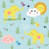 Elefantes e pássaros criançolas engraçados Teste padrão sem emenda bonito para fundos agradáveis ilustração stock
