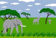 Elefantes en prado ilustración del vector