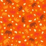 Elefantes inconsútiles del modelo del elefante grande lindo, anaranjados y amarillos para los niños o la materia textil de los be libre illustration