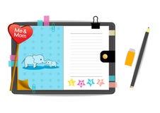 Elefantes mim e da mamã com o caderno do azul do amor Fotografia de Stock
