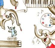 Elefantes pintados criativos do bebê Fotografia de Stock Royalty Free