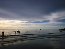 Elefantes que se bañan en el océano durante puesta del sol Isla de Koh Chang, Tailandia foto de archivo libre de regalías