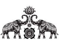 Elefantes y flor de loto estilizados stock de ilustración
