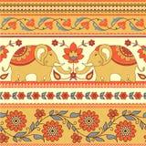 Elefantes y modelo étnico de las flores ilustración del vector