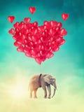Elefantflyg med ballonger Royaltyfri Foto