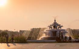 Elefanthauptbrunnen an den BAPS Shri Swaminarayan Mandir in Atlanta, GA - der größte hindische Tempel außerhalb Indiens Stockfotografie