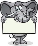 elefantholdingtecken Fotografering för Bildbyråer