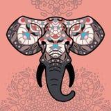 Elefanthuvud med en blom- prydnad royaltyfri bild