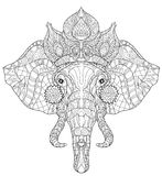 Elefanthuvudklottret på den vita vektorn skissar vektor illustrationer