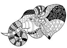 Elefanthuvudklottret på den vita vektorn skissar royaltyfri illustrationer