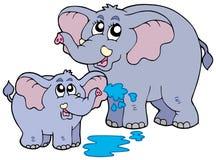 Elefanti del bambino e della femmina Fotografia Stock Libera da Diritti
