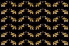 Elefanti dell'oro su priorità bassa senza giunte nera Fotografie Stock Libere da Diritti