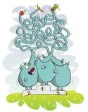 Elefanti e gioco del labirinto della frutta Immagini Stock Libere da Diritti