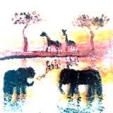 Elefanti e giraffa dell'illustrazione dell'animale selvatico al tramonto Immagine Stock Libera da Diritti