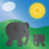 Elefanti illustrati Fotografie Stock Libere da Diritti