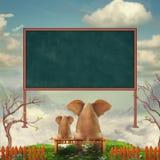 Elefanti su un banco nel campo illustrazione vettoriale