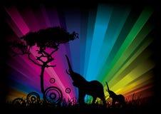 Elefanti su una priorità bassa del Rainbow Immagini Stock Libere da Diritti