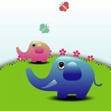 Elefanti sull'illustrazione verde di vettore del campo Immagine Stock Libera da Diritti