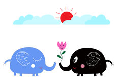Elefanti svegli del fumetto nell'amore sotto il sole Fotografie Stock