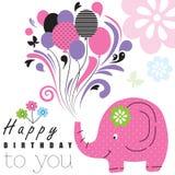 Elefantillustration för lycklig födelsedag Arkivfoto