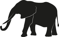 elefantkaribalaken fotograferade silhouetten zimbabwe royaltyfri illustrationer