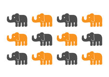 Elefantkonturmodell Vektor Illustrationer
