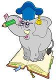 Elefantlehrer, der auf Buch steht Stockfotos