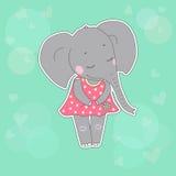 Elefantmädchen mit den geschlossenen Augen, die Blume in ihrer Hand haben Lizenzfreies Stockbild