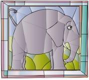 Elefantmålat glass stock illustrationer