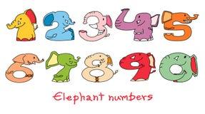 Elefantnummeruppsättning 1: 1 - 0 Arkivfoto