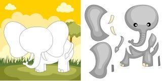 Elefantpuzzlespiel Lizenzfreies Stockbild