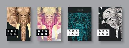 Elefanträkningsuppsättning Framtida affischmall Geometriskt djur Polygonal halvton Elefantkonturillustration royaltyfri illustrationer