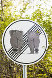 Elefants знака уличного движения в влюбленности Стоковые Изображения