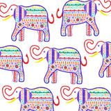 Elefants handmade background painted markers stock illustration