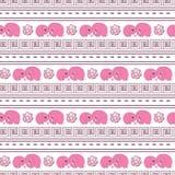 Elefants senza cuciture orizzontali del fumetto di rosa del modello royalty illustrazione gratis